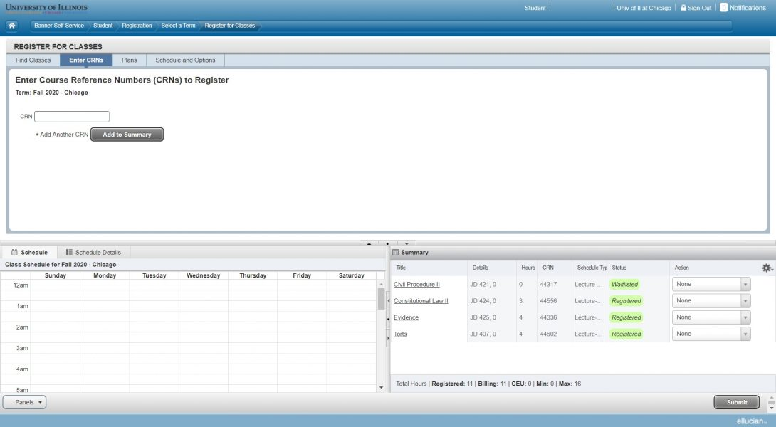Screen shot of Schedule and Options page showing successful Waitlist registration action.