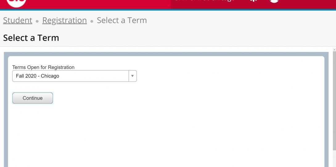 Screen shot of Selecting a term for Registration