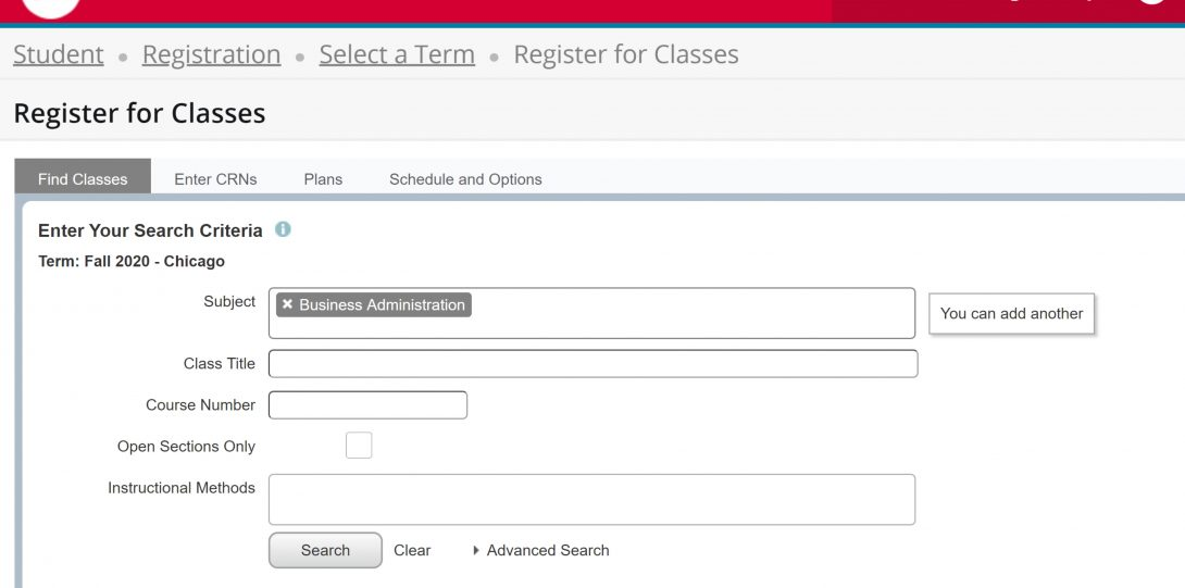 Screen shot of completed Search Criteria form for Registration
