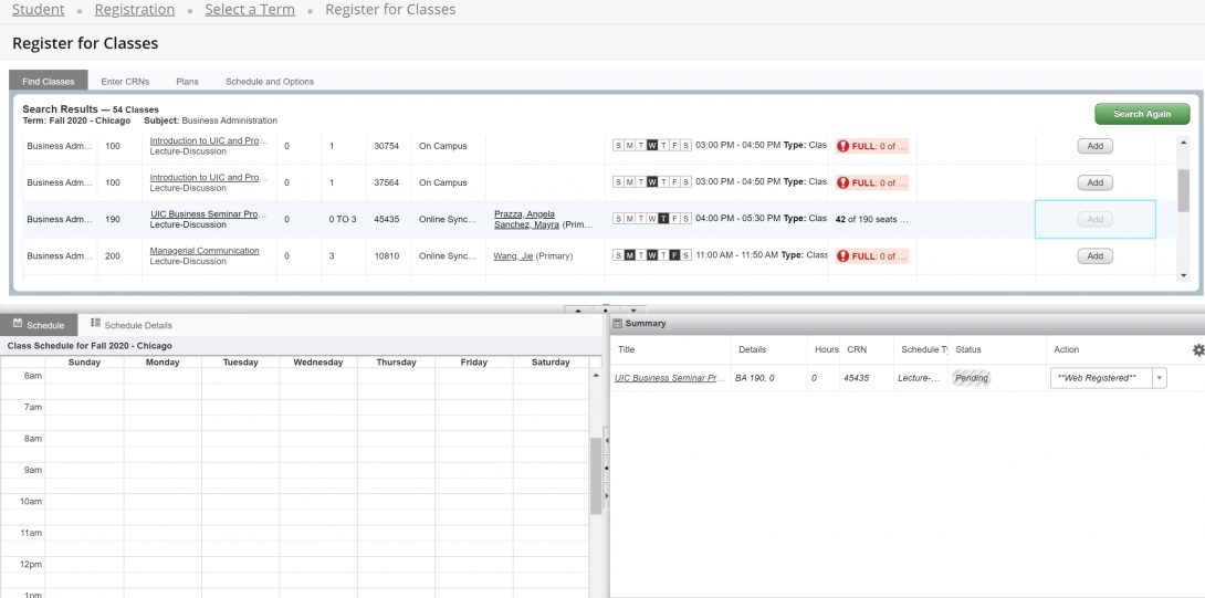 Screen shot of Course listings after form submission with summary view